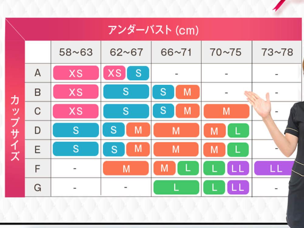 PGブラ(ピージーブラ)のナイトブラのサイズ表