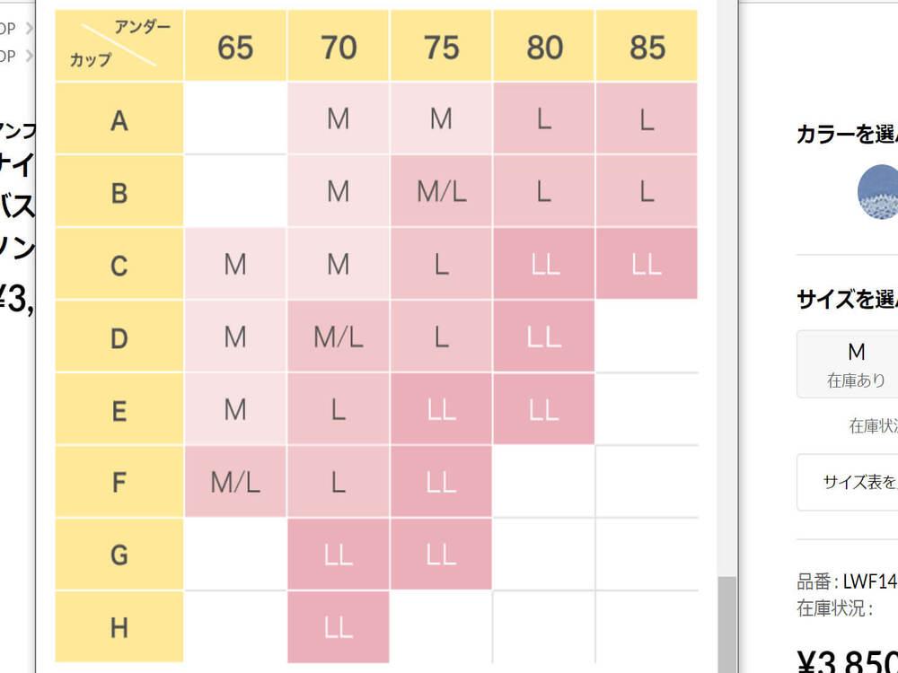 アンフィのナイトブラ(ナイトアップブラドレッシィ)のサイズ表
