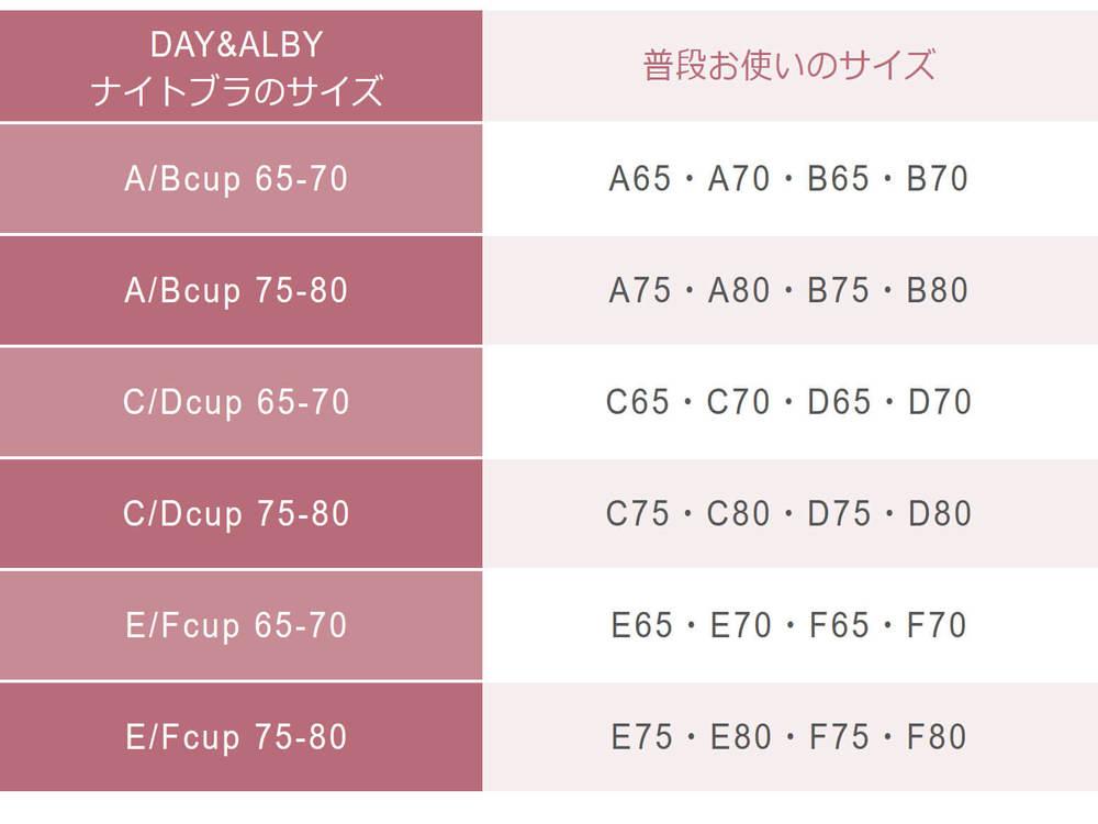 DAY&ALBYナイトキープアップブラ/デイアンドアルビーナイトブラのサイズ表