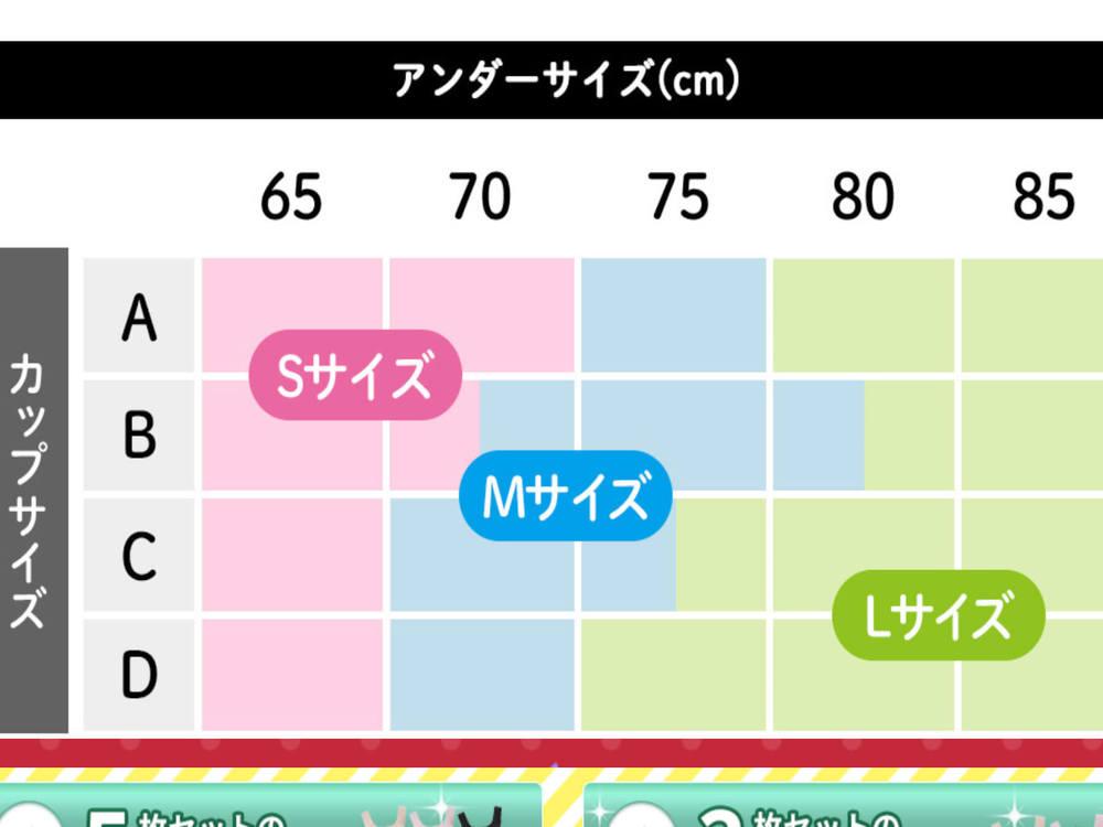 ギュギュブラ(GYUGYUBRA)ナイトブラのサイズ表