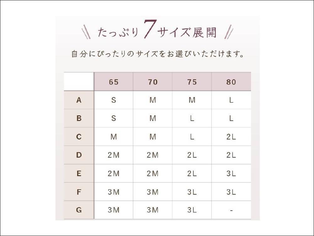 ルルクシェルのナイトブラ/くつろぎ育乳ブラのサイズ表