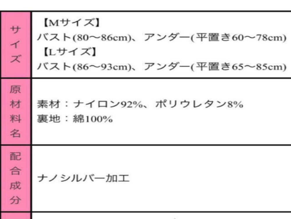 導きナイトブラのサイズ表