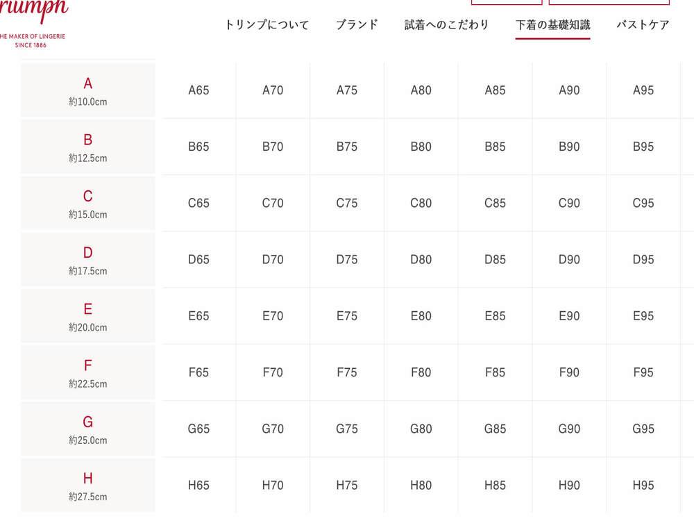 トリンププレジアフォルテ/美胸ナイトブラ2のサイズ表