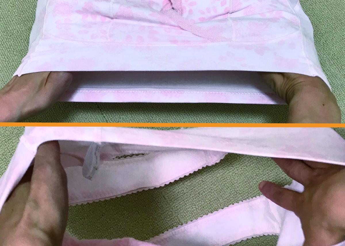 cecile16クロスでしっかりホールドするナイトブラ(ノンワイヤー・ソフトブラ)の補正力イメージ